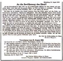 L'ordonnance de Robert Wagner sur l'incorporation des jeunes alsaciens dans la Wehrmacht, le 24 août 1942.