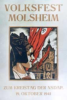 Octobre 1941: affiche annonçant la fête du parti nazi à Molsheim (Arrondissement de Molsheim).