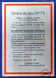 24 novembre 1944: ordre du jour du Général Leclerc lors de son entrée à Strasbourg.