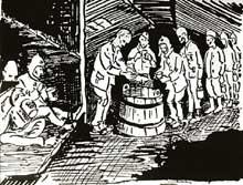 Prisonniers alsaciens «Malgré nous» au camp de Tambov (U.R.S.S.): distribution de soupe. Les nombreux Alsaciens incorporés de force dans la Wehrmacht sont envoyés, pour une grande partie, sur le front russe. Ceux qui sont faits prisonniers par l