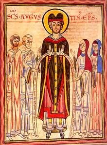Le Codex Guta Sintram de Marbach conservé à la Bibliothèque du Grand Séminaire de Strasbourg. Ms 37, 1154. Saint Augustin entouré de chanoines et de chanoinesses