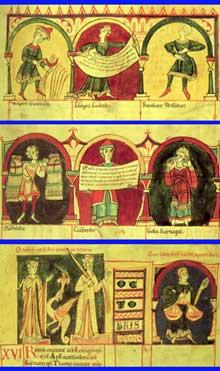 Codex Guta Sintram: la ronde des mois: de haut en bas: le mois de juillet, le mois d'août et celui d'octobre
