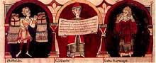 Codex Guta Sintram: la ronde des mois: détail: le mois d'août