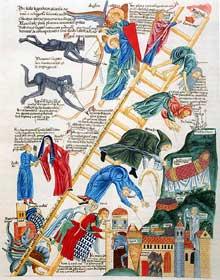 L'échelle céleste. Hortus Deliciarum, après 1150. Folio 125v, d'après le calque réalisé par M.C. Engelhardt avant la destruction du manuscrit