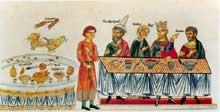 Esther et Mardochée. Le repas. Hortus Deliciarum