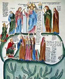 Hortus Deliciarum.: au registre supérieur, le Christ en majesté. Au registre médian; le duc Etichon confie à sa fille Odile le Monastère «Hohenburge» qu'il vient de fonder
