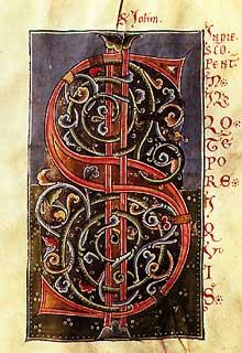 Page de l'Evangéliaire de Marbach. Lettre S. Avant 1200. Bibliothèque de Laon.