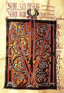 Evangéliaire de Marbach. Lettre M. Avant 1200. Bibliothèque de Laon