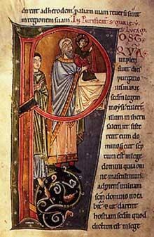 Evangéliaire de Marbach. Lettre P. Avant 1200. Bibliothèque de Laon