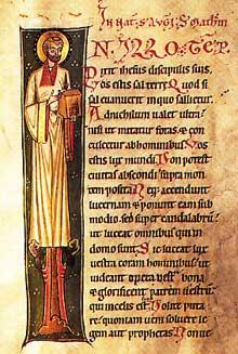 Evangéliaire de Marbach. Lettre I. Avant 1200. Bibliothèque de Laon