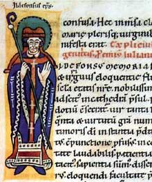 Alspach: Saint Ildefonse, évêque de Tolède. Initiale I d'un recueil bénédictin d'Alspach du XIIè. Colmar, bibliothèque Municipale