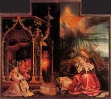 Mathias Grünewald. Détail du Retable d'Issenheim: la Nativité et le concert des Anges. Vers 1510. Colmar, Musée Unterlinden