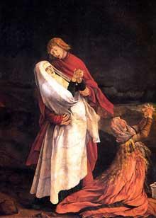 Mathias Grünewald. Détail de la crucifixion du Retable d'Issenheim: Saint Jean soutenant la Vierge et Sainte Madeleine