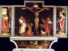 La partie centrale du retable d'Issenheim de Maître Mathis: la crucifixion, et sur la prédelle, la mise au tombeau