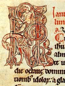 Abbaye de Munster: Martyrologe de Munster, début XIIè. Page enluminée avec les initiales KL (Kalendas). Colmar, bibliothèque Municipale