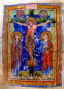 Crucifixion du missel de Murbach. Ms 429, folio 215. Vers 1200. Colmar, Bibliothèque Municipale