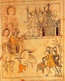 L'entrée du Christ à Jérusalem, par Ottfried de Wissembourg. Dessin exécuté de sa main pour illustrer son Krist. Codex d'Otfried de Wissembourg, 868, Vienne, Hofbibliothek