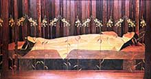 Charles Spindler: Sainte Odile au tombeau. Marqueterie. Strasbourg, Musée Alsacien