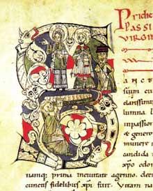 Page du «Liber Miraculorum Sanctae Fides», 1050ss. Sélestat, Bibliothèque Humaniste