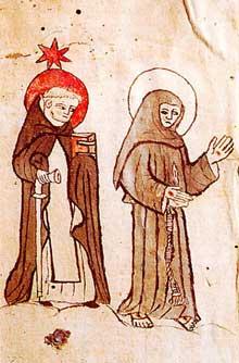 Saint Dominique et Saint François. Bréviaire appartenant à Johannes Schedelin. Début du XVè. Colmar, bibliothèque du Consistoire Protestant