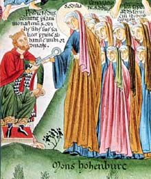 Le duc Etichon remet à sa fille Odile les clefs de l'abbaye de Hohenbourg. Détail d'une miniature de l'Hortus Deliciarum