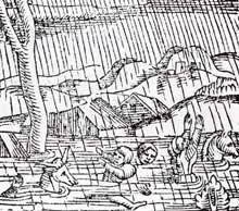 Le Rhin avait jadis de terribles colères. Détail de la Cosmographie de S. Münster