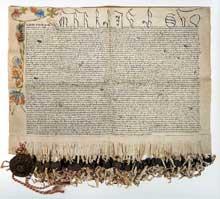 Le Schwoerbrief, lettre de serment de la ville de Strasbourg. 1443. Archives municipales de Strasbourg
