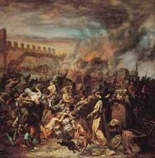 Le massacre des Juifs de Strasbourg lors de la grande peste. Tableau d'Eugène Beyer
