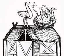 Maison à colombage et nid de cigognes du XVè. Brunschwig, Distillierkunst, Strasbourg, 1500. (La maison alsacienne)