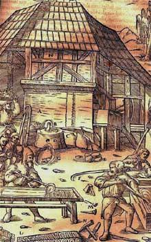 Maison à colombages. Au premier plan, ouvriers zingueurs. (La maison alsacienne)