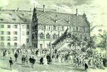 Les Optants à l'hôtel de ville de Mulhouse peu après la déclaration d'option. D'après une gravure du cabinet des Estampes de Strasbourg