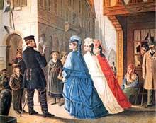 L'Alsace protestataire: bourgeoises en tenue tricolore..