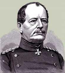 Le Generalleutnant von Werder, commandant des divisions badoises, l'homme qui assiégea Strasbourg et que les Alsaciens surnommèrent «von Mörder», l'assassin