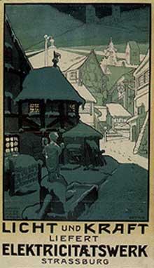 Affiche publicitaire pour l'électricité de Strasbourg