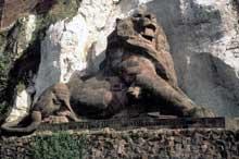 Le «lion de Belfort», symbole de la résistance de la ville à l'armée prussienne, par Auguste <a class=