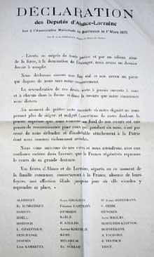 La protestation de Bordeaux lue à l'assemblée le 1 mars 1871