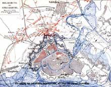 Plan du siège de Strasbourg, d'après une carte de l'état major allemand