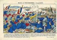 La bataille de Wissembourg vu du côté français. Didion imprimeur. Paris, Musée National des Arts et des Traditions Populaires.