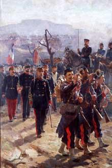 18 février 1871: sous le regard des troupes allemandes, les soldats français quittent une ville dévastée par les flammes.Tableau de Jean André Rixens (1896), Toulouse, musée des Jacobins