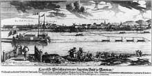 Le Rhin à Mannheim. Gravure du XVIIIè