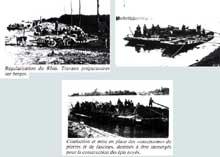 Travaux de régulation du Rhin au XIXè: mise en place de «saucissons» de pierres et de fascines qui seront immergées pour la construction des épis noyés