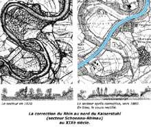 Travaux de correction du cours du Rhin au XIXè: comparaison entre l'état du fleuve en 1820 et en 1880