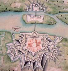 La forteresse de Huningue édifiée par Vauban sur le Rhin au nord de Bâle