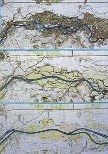 Cartes montrant les travaux d'aménagement du Rhin avant, pendant et après les travaux de Tulla dans la région de Neuf Brisach