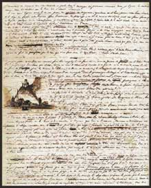 Victor Hugo. Page du «Voyage sur le Rhin. Manuscrit autographe. Reliure en plein parchemin. Paris, BNF