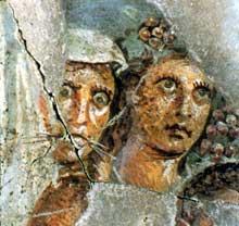 Détail d'une mosaïque représentant le cortège de Bacchus. Trouvée place Kléber elle ornait sans doute la villa d'un officier romain. Elle date de la fin du Ier siècle. Strasbourg, musée archéologique