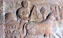 Chariot de marchandises. Bas relief en grès trouvé à Koenigshoffen. Musée archéologique de Strasbourg. IIè siècle
