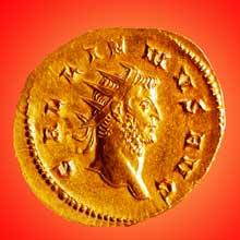 Monnaie en or à l'effigie de l'empereur Néron. Musée archéologique de Strasbourg