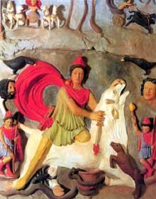 Reconstitution du relief de Koenigshoffen dédié au dieu Mithra. Strasbourg, musée archéologique