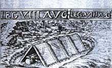 Argentorate�: s�pulture sous tuile de la VIII� l�gion. Porte de l�H�pital�? Dessin de J. Arhard, 1663